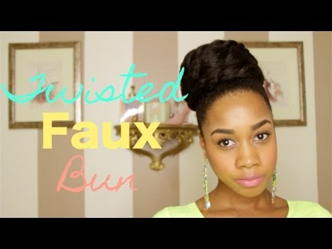 Twisted Faux Bun Hair Tutorial on Natural Hair