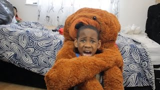 MOVING TEDDY BEAR PRANK ON 8 YEAR OLD!!! *HE CRIES*