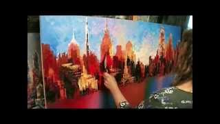 Philadelphia large city skyline painting live palette knife demo Tatiana iliina