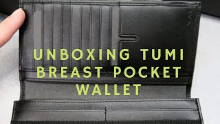 Unboxing Tumi breast pocket wallet reflective tundra from Paris
