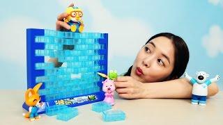 [유라] 장난감(toy)_아슬아슬 얼음위에 뽀로로 보드게임 블럭 쌓기 놀이 pororo on the ice board games block