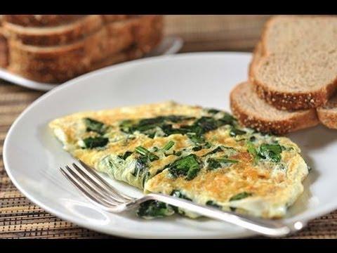 Omelette de claras con espinacas - Recetas de desayunos