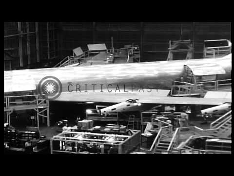 Construction of first Boeing Model 717 (KC-135) U.S. Air Force military jet tanke...HD Stock Footage