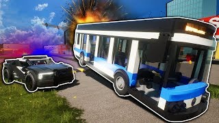 Lego Police Must Chase Down a Stolen Bus and Use Spike Strips! - Brick Rigs Multiplayer Gameplay