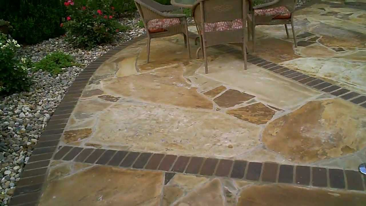 Flagstone Patio With Brick Border By Josh Link Youtube