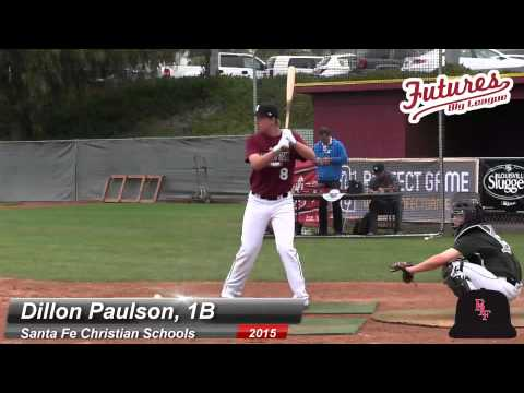 DILLON PAULSON BATTING PRACTICE, 1B, SANTA FE CHRISTIAN SCHOOLS CLASS OF 2015