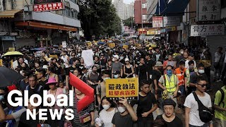 Protesters scuffle with police in Hong Kong border town after peaceful demonstration devolves