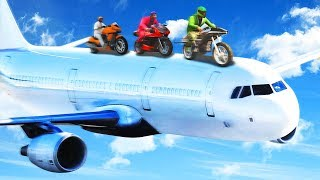 RIDING BIKES ON A MILE HIGH AIRPLANE! (GTA 5 Funny Moments)