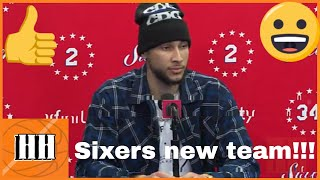 Brett Brown, Ben Simmons and Tobias Harris Sixers vs Nuggets | 09/02/19
