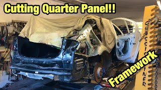 Rebuilding A Totaled Wrecked 2018 BMW M3 From Copart Salvage Auction Cutting Quarter Panel