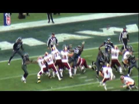 Red Bryant of the Seattle Seahawks blocks two kicks in one game, against the Washington Redskins on November 27, 2011. The first block is a field goal attemp...