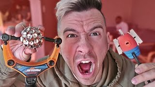 MOST DANGEROUS TOY OF ALL TIME!! *BLOOD ALERT* (EXTREME NERF GUN / ZING BOW / SLING SHOT EDITION!!)