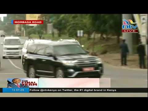 Botswana president Ian Khama makes his way to Kasarani for #InaugurationKE