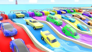 Learn Colors for Children with Super Sports Cars Coloring Slides Tracks Train Transport 3D Kids