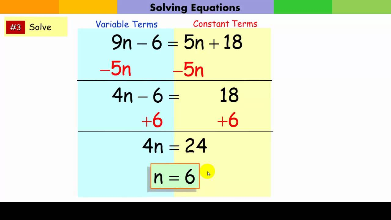 Solving Multi Step Equations Youtube