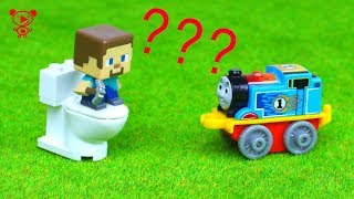 Trains for kids toys Thomas meets Steve Minecraft
