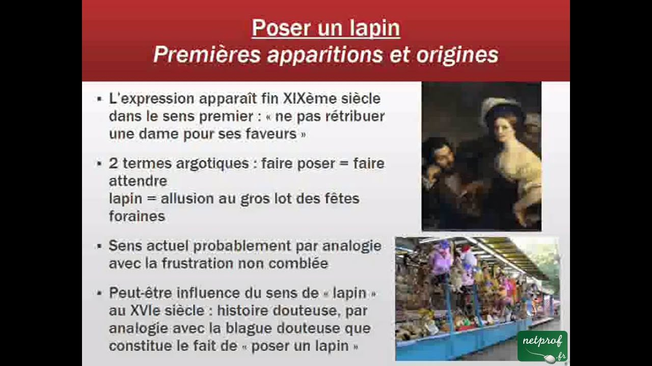 Aux origines d 39 une expression 006 poser un lapin youtube for Pose d un ragreage