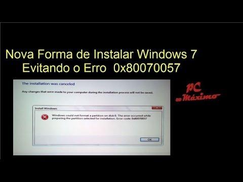 Formatar Win 7 ou Win 8 - corrigindo o erro 0x80070057 ( Resolvido )