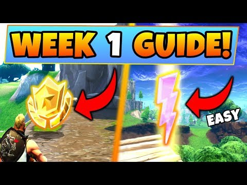 Fortnite WEEK 1 CHALLENGES GUIDE! – LIGHTNING BOLTS LOCATIONS, Treasure MAP (Battle Royale Season 5)