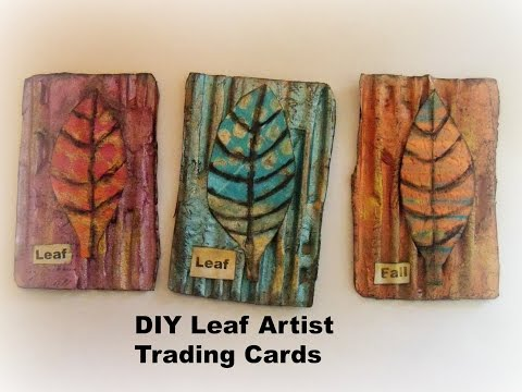 How to make Leaf Artist Trading Cards / DIY Easy  Gelli Prints ATC's