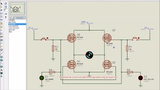 H-bridge Proteus Simulation using MOSFET IRFZ44 and BJT 2N3904 (DC MOTOR SPEED CONTROL)