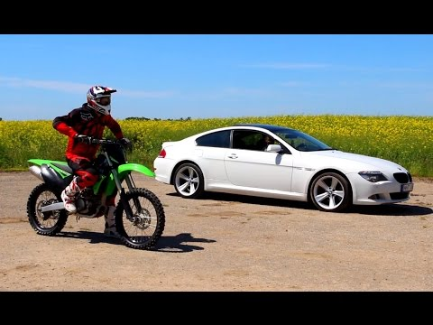 Dirt bike vs car acceleration compare. BMW 650i 270KW(367HP) 489 Nm @ 3400 RPM 0-100km/h - 5.5s vs Kawasaki Kx250f k10. Max speed: 126km/h Music: Funky Fat & Digitaria - You Bring Me Down...