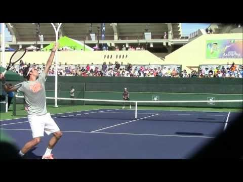 Federer vs Haas (Indian Wells Practice 2014)