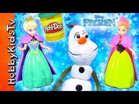 PLAY-DOH Snow Cape + Elsa, Anna, Olaf Snowball Fight! [Disney] [Princess] [Frozen Movie]