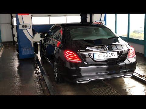 PKW in Waschstraße reinigen innen Wash Tec Waschanlage Waschstraße Mercedes Benz C180 sedan Car Wash