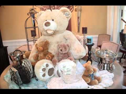 Cute teddy bear baby shower decor ideas youtube for Dekoration fur babyparty
