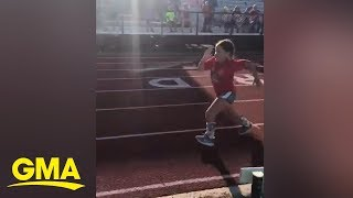Girl with spina bifida chases her dreams by running in her first track race  | GMA Digital