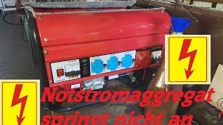 Notstromaggregat springt nicht an, emergency generator won`t start