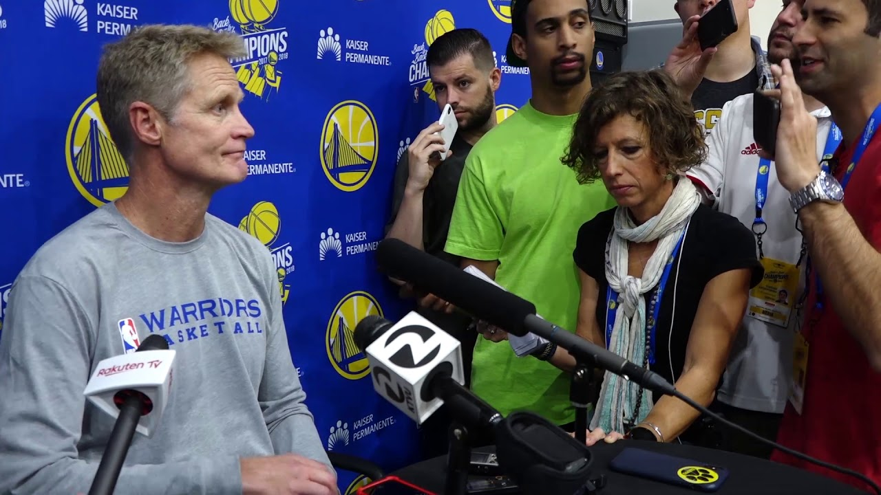 "Coach Steve Kerr after the Warriors' first practice: ""You got five guys out there who can shoot."""