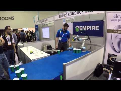 Beer Pong Robot Kicking Dudes Ass