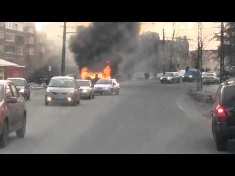Видео Взрыва! В Петрозаводске взорвалась машина на Первомайском проспекте.