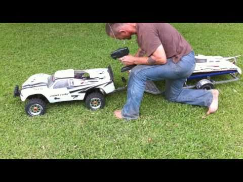 1/5 scale RC baja truck pulling gas rc boat on custom made aluminum trailer