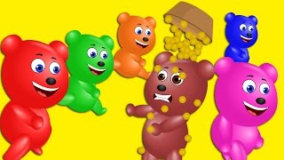 Mega Gummy bear playing with Bed || Five Lettel nursery rhymes for kids | Gummy bear funny