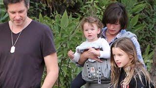 Milla Jovovich And Family Enjoy A Stroll