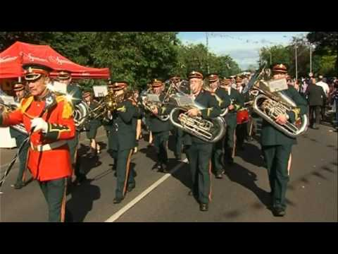 Ballyreagh Silver Band playing the Old Comrades march at the Last Saturday in August Black parade in Cookstown on Saturday 25th August 2012.