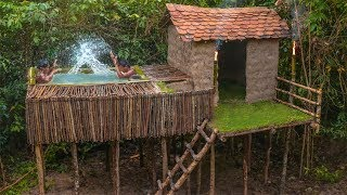 Primitive Technology: Build The Flying Swimming Pool Top Roof By Tree Bark