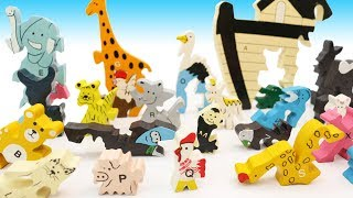 Toy Animals Wooden Puzzle Learning Animals Alphabet for Toddlers