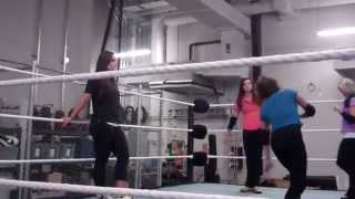 Sara Amato with NXT Divas at WWE Performance Center 2014
