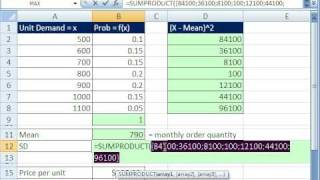 Excel Statistics 60_ Budget Income Statement (Probability) SUMPRODUCT function