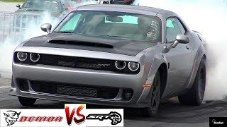 2018 DEMON vs HELLCAT DRAG RACE !! Stock 840 HP Demon vs 707 HP Hellcat - 1/4 Mile  - RoadTestTV®