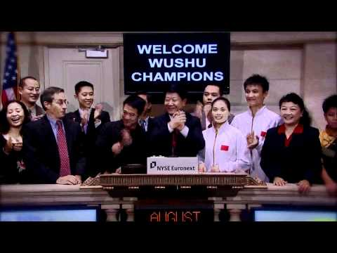 18 August 2011 Jet Li and the China World Champion Wushu Team ring the NYSE Closing Bell