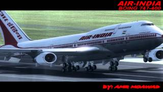 Air India pmdg 747-400 landing at heathrow
