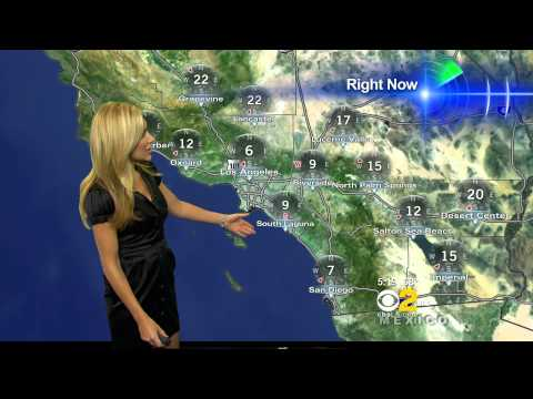 Jackie Johnson 2011/06/08 5PM CBS2 HD; Satin black dress, stockings