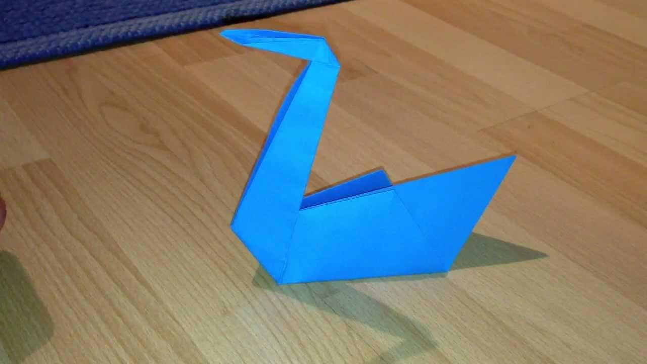 schwan aus papier basteln origami schwan falten youtube. Black Bedroom Furniture Sets. Home Design Ideas