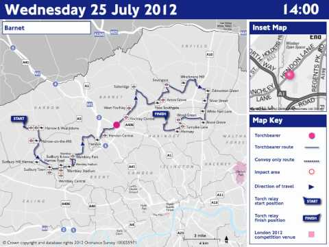 ROADS: Wednesday 25 July - Olympic Torch Relay
