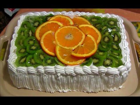 Бисквитный торт с фруктами и желе (фруктовый торт)  Sponge cake with fruit and jelly (fruit cake)